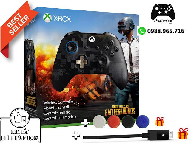 Tay Cầm Xbox One S Chính Hãng Bản Đen PUGB Limited Edition + Cáp Cable USB + Bọc Cần Analog - Ảnh 1