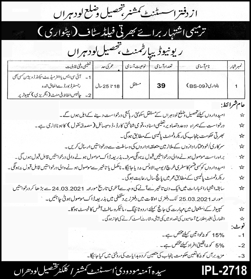 government,assistant commissioner revenue department tonsa,patwari, revenue field staff,latest jobs,last date,requirements,application form,how to apply, jobs 2021,