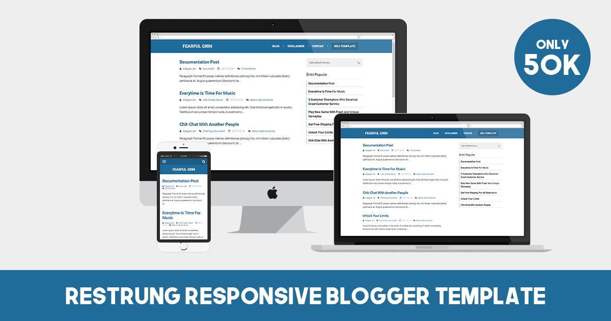 Restrung Responsive Blogger Template, Template untuk blogger yang simple tanpa Thumbnail