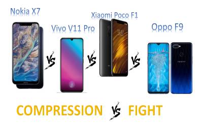 Which is better in Nokia X7, Vivo V11 Pro, Xiaomi Poco F1 and Oppo F9 Pro?
