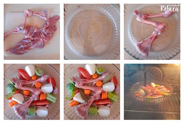 Receta de pierna de cordero rellena de pistachos: deshuesar y hacer el caldo