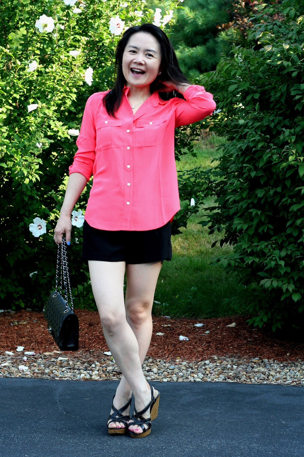a2fadce751ae Outfit Details J.Crew Blythe Blouse in Neon Rose (past season color