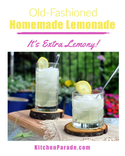 Old-Fashioned Homemade Lemonade ♥ KitchenParade.com, how to make real lemonade using the oil from the lemon peel for extra zesty flavor.