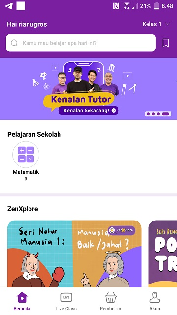 Download aplikasi Zenius di playstore