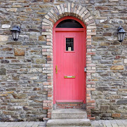 Doors of Ireland: Peach door in Bantry West Cork
