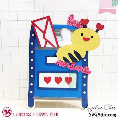 SVG Attic: Bee Mine Valentine with Angeline #svgattic #scrappyscrappy #valentine #card #cardmaking #valentinecard #papercraft #svg #diecut #beemine