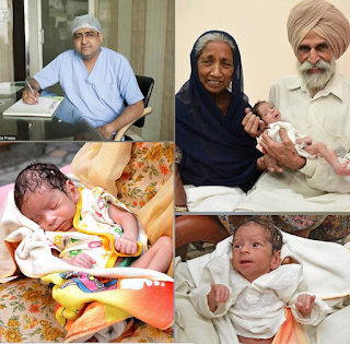 The woman,Daljinder Kaur, her husband and the doctor,Dr Anurag Bishnoi, who administerd the Ivf Treatment