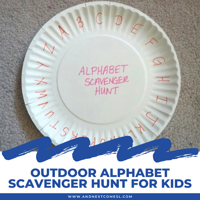 Outdoor alphabet scavenger hunt for kids with paper plate craft