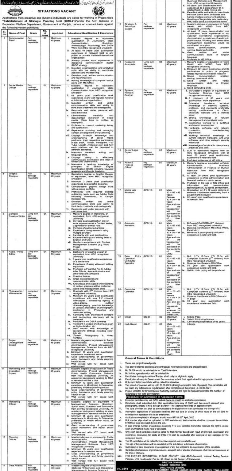 Population Welfare Department Govt Of Punjab New Jobs April 2020