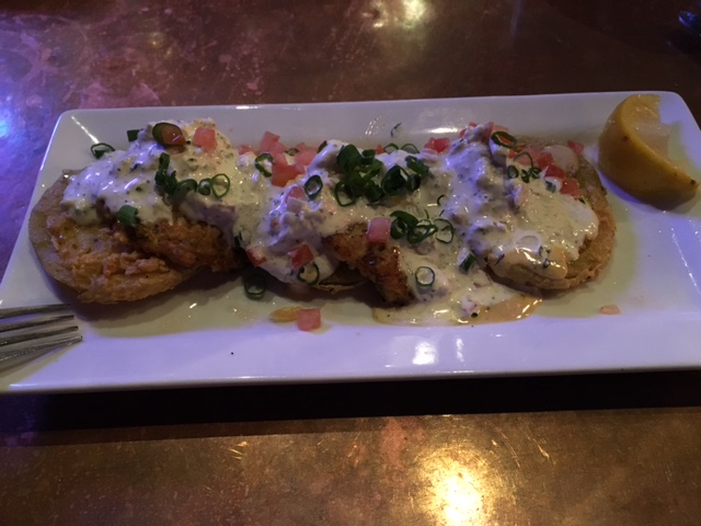 Half Shell Oyster House crab cakes and fried green tomatoes