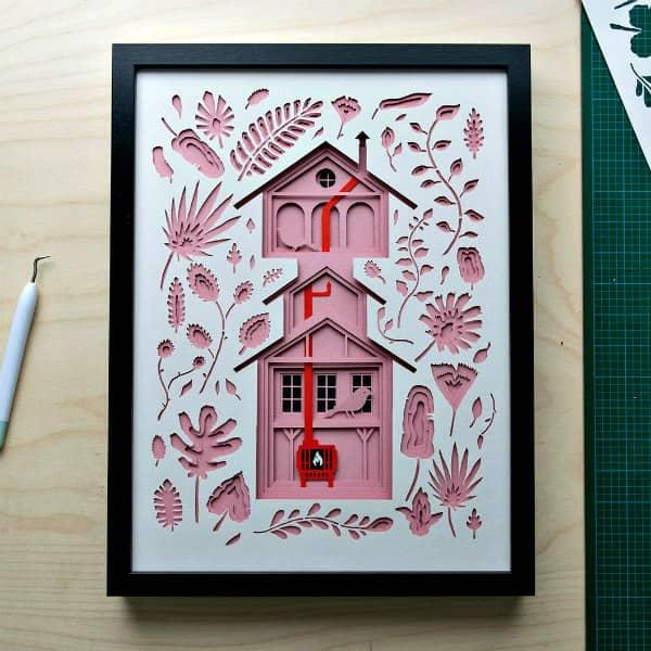 multi-layer paper cut bird house