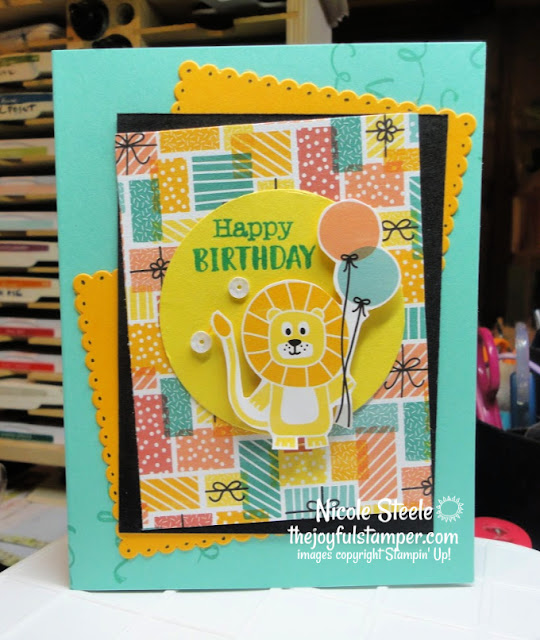 kids birthday card | birthday bonanza | wiggle worm | stampin' up! | animal card | Nicole Steele The Joyful Stamper