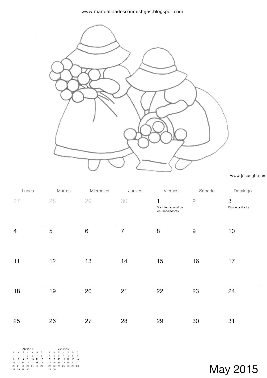 Manualidades con mis hijas: Calendario 2015 para colorear los niños