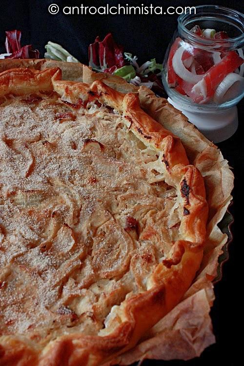 Torta Rustica di Cipolle, Gorgonzola e Speck al Balsamico