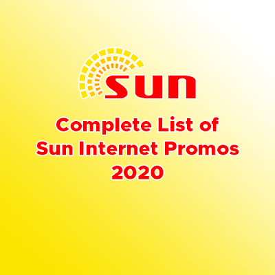 Complete List of Sun Internet Promos For 2020
