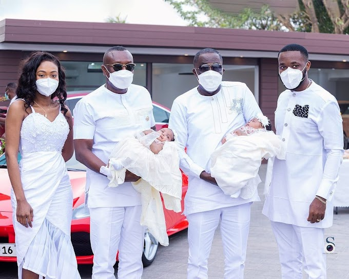 Kennedy Osei and Tracy present their twin babies to his father Dr. Osei Kwame Despite on his birthday