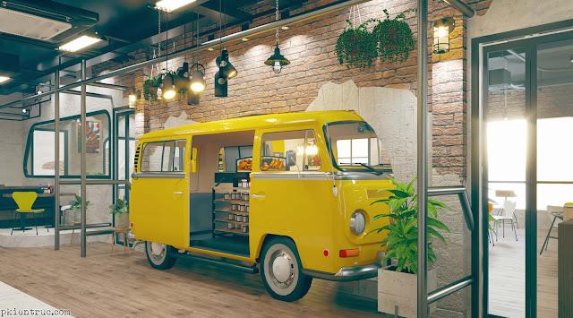 Phối cảnh nội thất nhà hàng mô hình xe bus