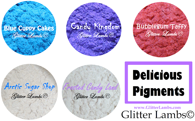 Delicious Pigments: Mica Powder Pigments by Glitter Lambs Blue Cuppy Cakes Candy Kingdom Bubblegum Taffy Arctic Sugar Shop Frosted Candy Land