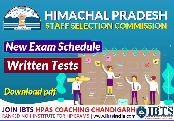 HPSSC New Exam Schedule for Written Screening Tests - September 2021 (Download PDF)