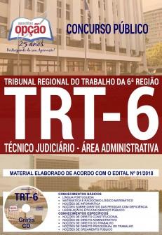 apostila TRT-PE 2018 para o cargo de Técnico Judiciário - Área Administrativa.