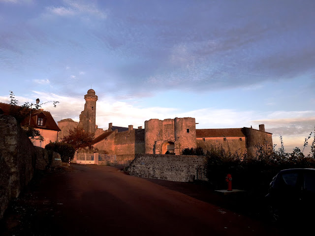 Setting sun illuminating the facade of Chateau du Grand-Pressigny in early November