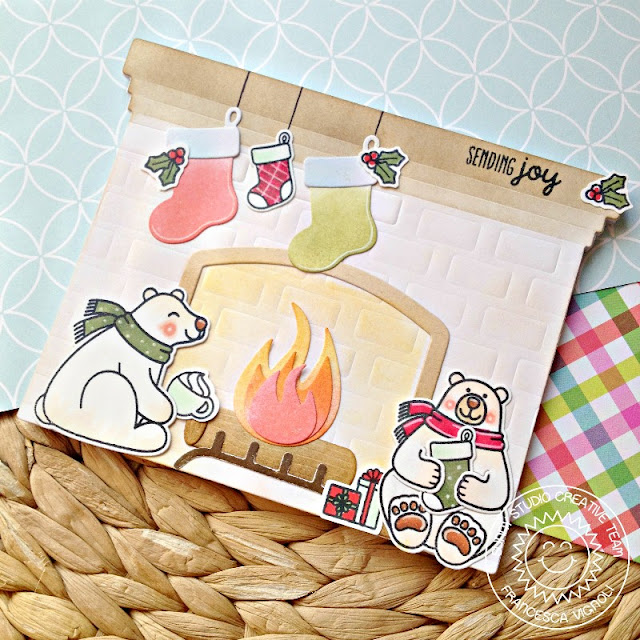 Sunny Studio Stamps: Fireplace Shaped Dies Playful Polar Bears Christmas Notepad by Franci Vignoli