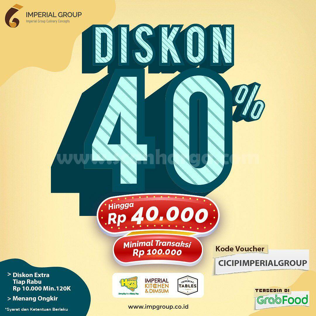 IMPERIAL TABLES Spesial Promo GRABFOOD! DISKON 40%