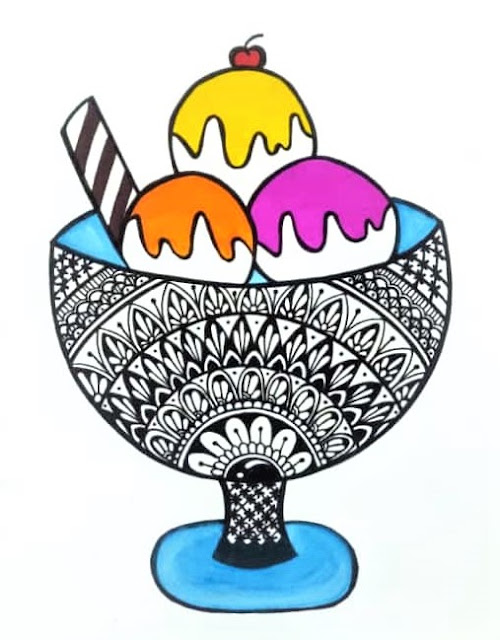 Colorful Ice Cream Mandala Art