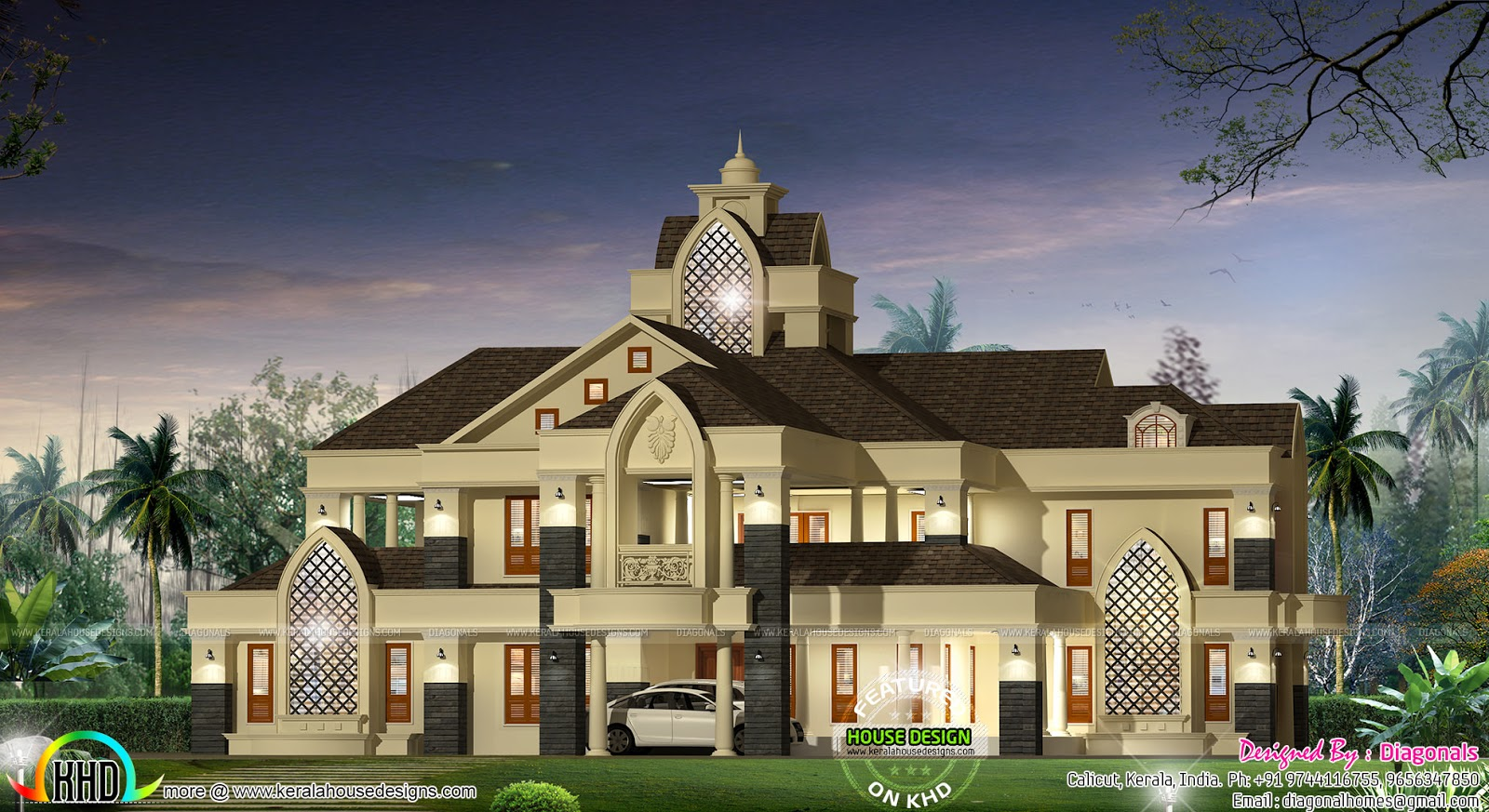 Colonial type modern luxury home kerala home design and for Colonial luxury house plans