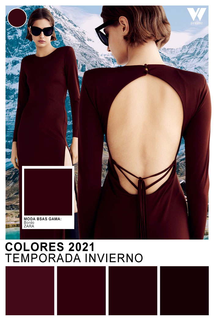Colores de moda invierno 2021 bordo