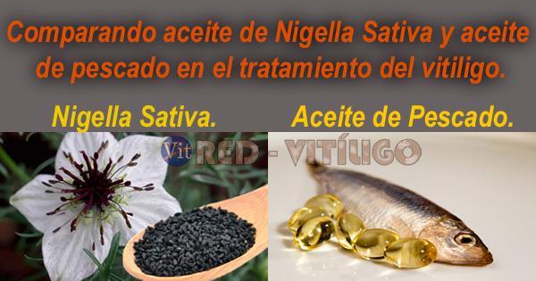 Aceite de Nigella Sativa y aceite de pescado en el tratamiento del vitiligo.