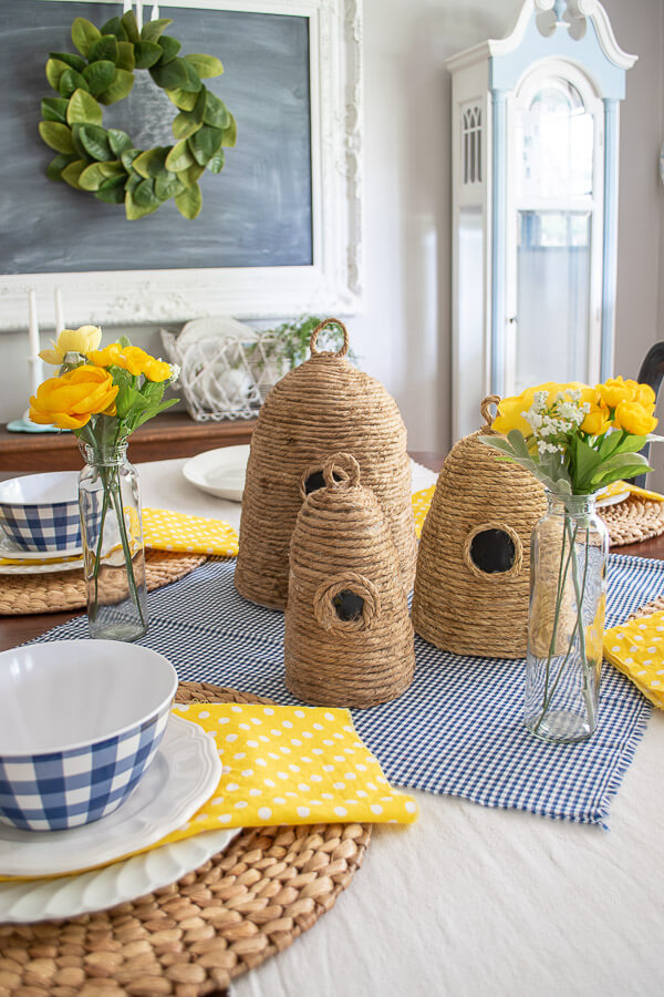 DIY bee skeps in summer dining room