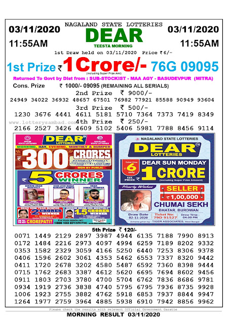 Lottery Sambad 03-11-2020, Lottery Sambad 11.55 am results, Nagaland Lottery Results, Lottery Sambad Today Results Live, Morning results