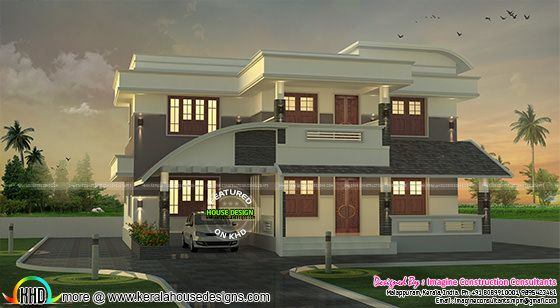 2320 sq-ft 3 bedroom modern mix roof house