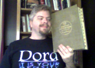 Andy with his copy of Webster's New International Unabridged Dictionary, 2nd Edition