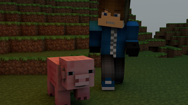 Personaje junto a cerdo minecraft