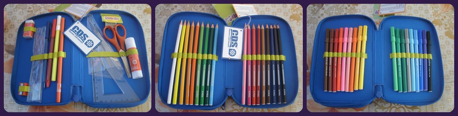 2ccd73e0f2 L'astuccio è completo di 18 pastelli FILA, 18 pennarelli Giotto, gomma/  righello Cartorama e poi anche temperino, matita, squadra,forbici, penna a  sfera ...