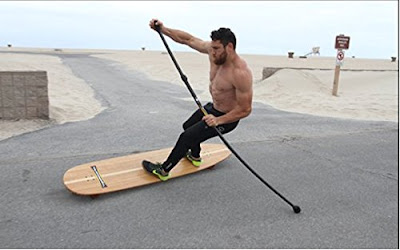 Hamboards Street Sweeper SUP Skateboard for Pumping, Landsurfing & Land Paddling - Street Paddle with Adjustable Plastic Handle 4 ft to 6 ft