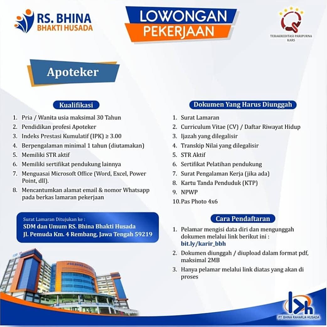 Lowongan Kerja Apoteker Rumah Sakit Bhina Bhakti Husada Rembang Lowongan Rembang