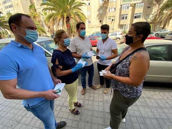 Reparto de mascarillas gratis como acto simbólico, Las Palmas de Gran Canaria