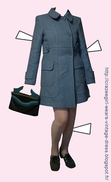 mod blue coat annees 70 1970 chunky blue suede shoes loafers blue stripe bag 1960 60s