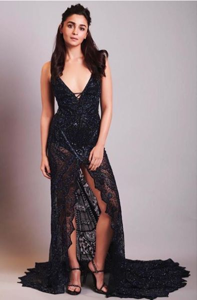 Slit Black Dress Alia Bhatt