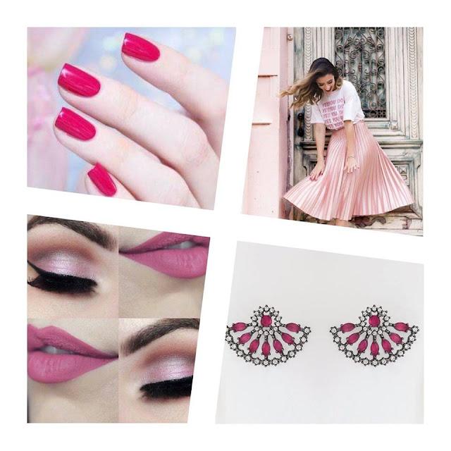 Brinco Leque Cravejado de Zircônias e Cristal Rosa Banhado em Ródio Negro