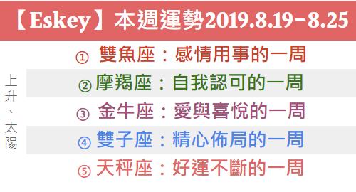 【Eskey】本週生活運勢預測2019.8.19-8.25