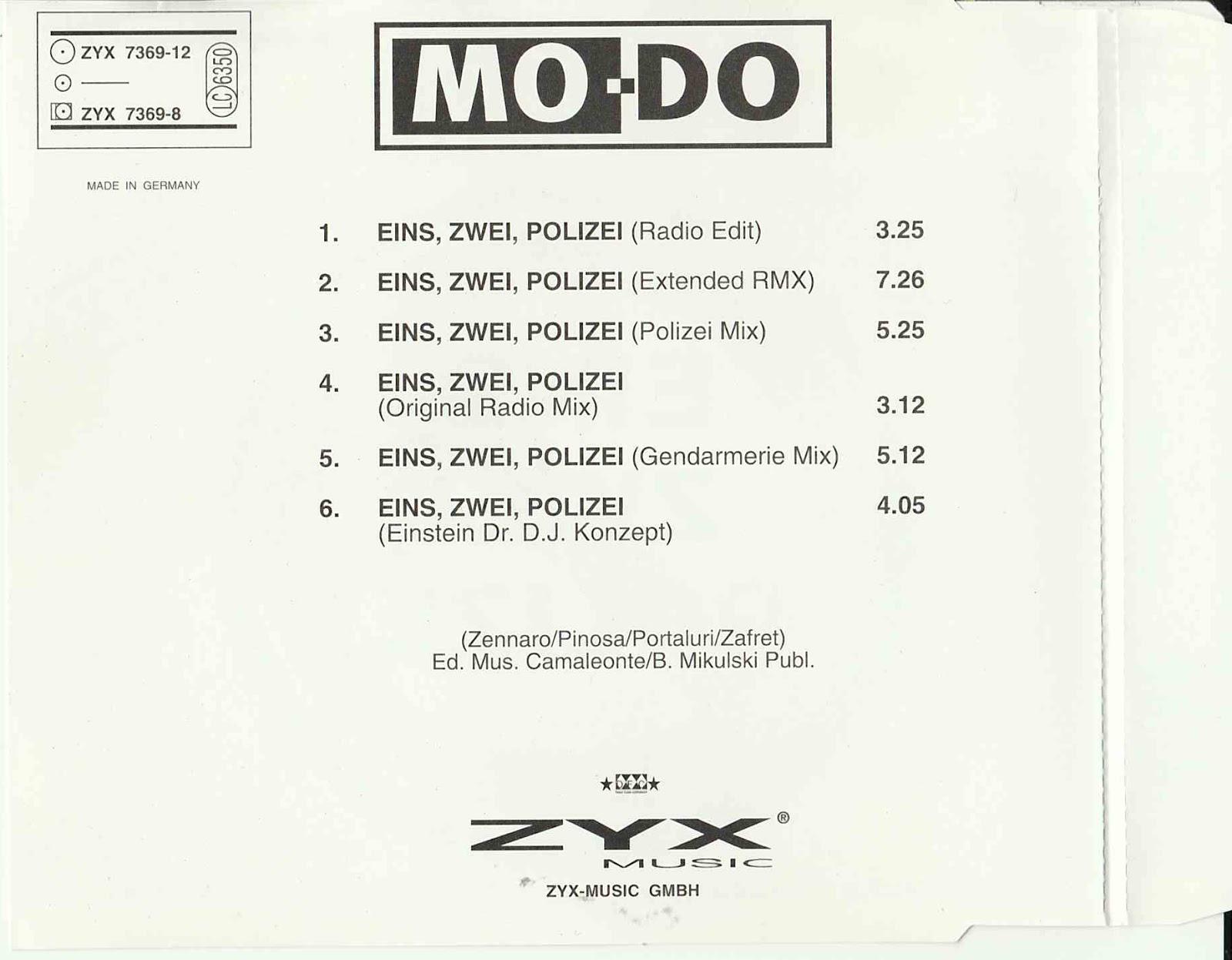 MO DO – EINS, ZWEI, POLIZEI remix cds 20 tr – Blog di Stefano ...