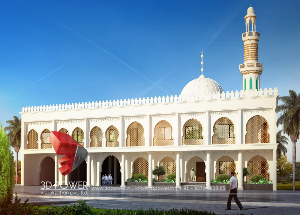 3d animation 3d rendering 3d walkthrough 3d interior for Mosque exterior design