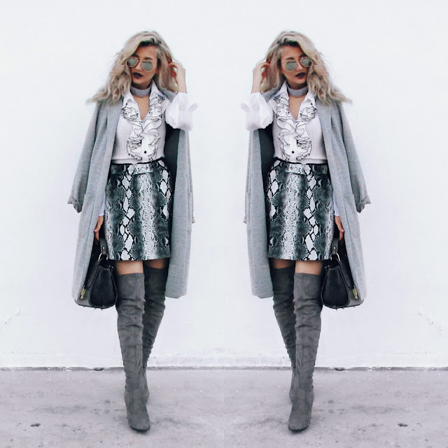 grey thigh high boots outfit