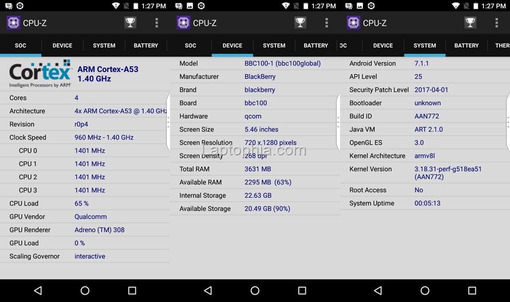 CPU-Z BlackBerry Aurora