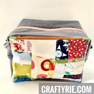 Boxy Pouch sewn with scrap fabrics