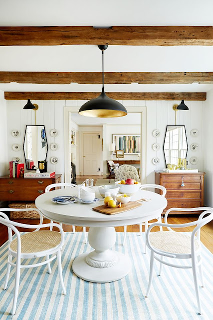 Gorgeous modern farmhouse dining room in Connecticut of Debbie Propst of One King's Lane - found on Hello Lovely Studio